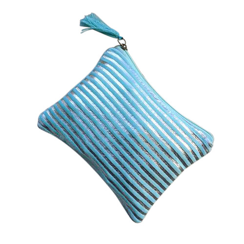 Silver Turquoise Stripes Medium Pouch
