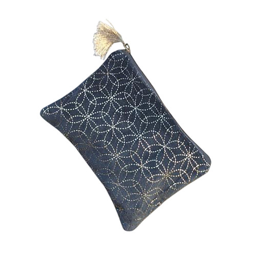 Black with Silver Circles Large Pouch
