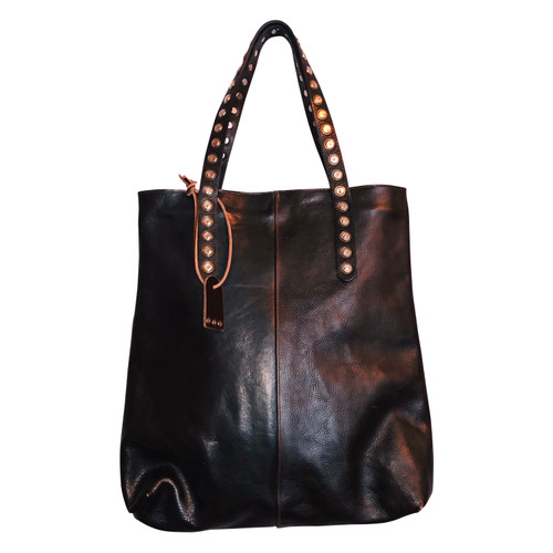 Dark Brown Studded Handle Tote Bag