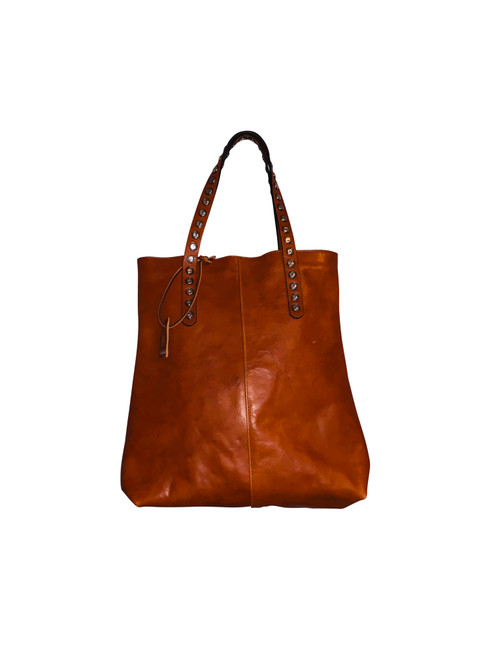 Chestnut Studded Handle Tote