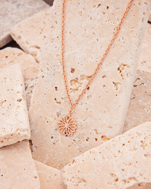 Flower Necklace that represents your birth flower and it's meaning in plated Rose Gold