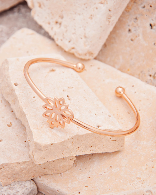 Flower Cuff Bracelet that represents your birth flower and it's meaning in plated Rose Gold