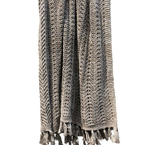 Herringbone Net Fringed Throw