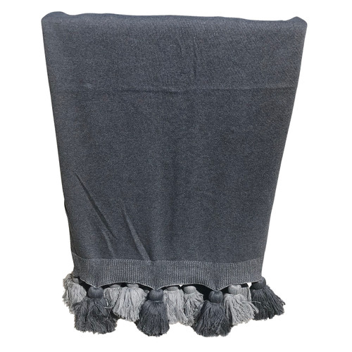 Two-Tone Knitted Throw with Tassel