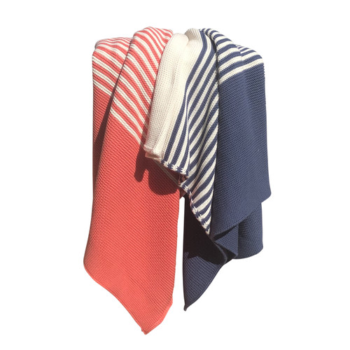 Tri-Color Block Stripe Throw