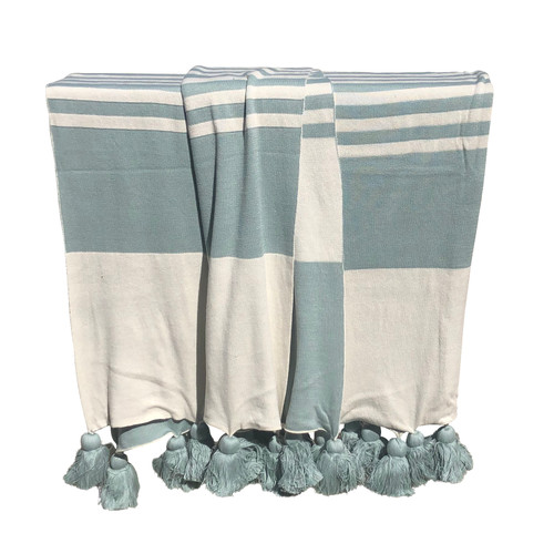 Striped Knitted Throw with Tassel
