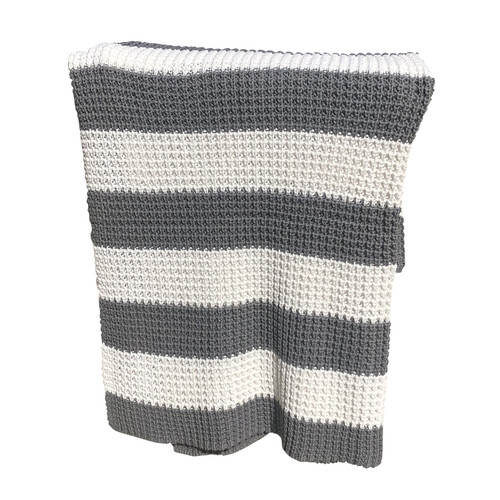 Thick Striped Knitted Throw