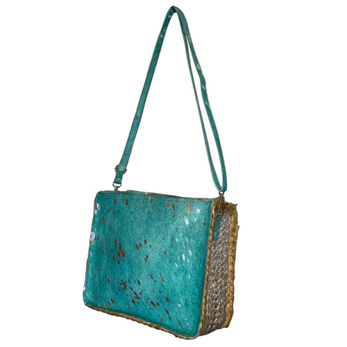 Boxy Painted Jute Crossbody Turquoise