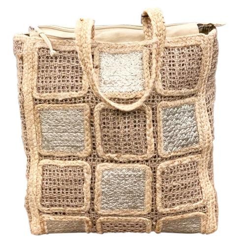 Jute Squares Tote Bag Beige