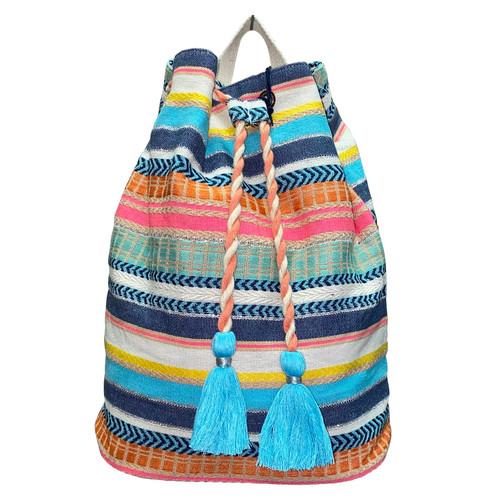 Beach Stripes Drawstring Backpack