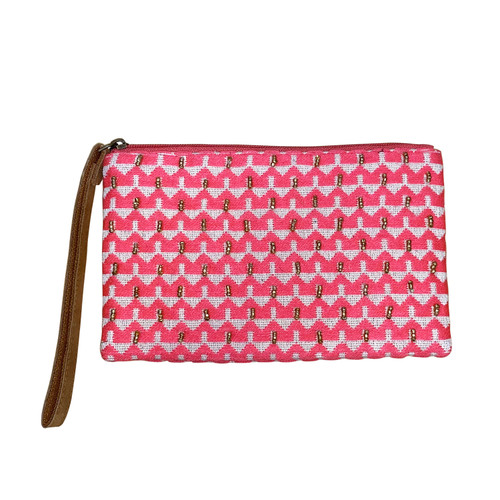 Pink White Triangles Beaded Wristlet