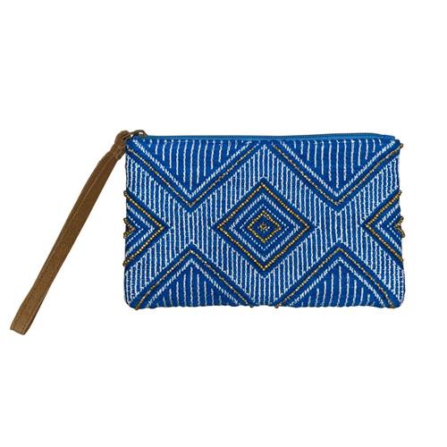 Turquoise XOX Beaded Wristlet