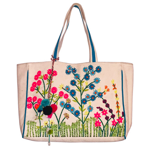 Embroidered Garden Tote Bag