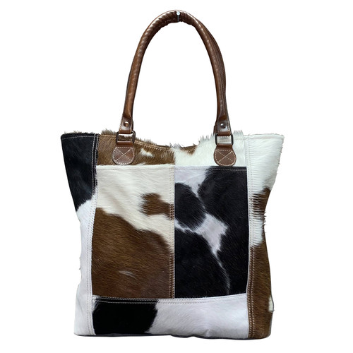 Tall Leather Hide Tote