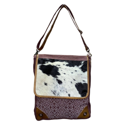 Printed Canvas and Hide Crossbody