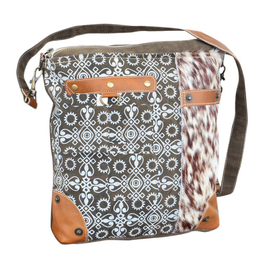 Printed Canvas and Hide Crossbody Orange and Brown