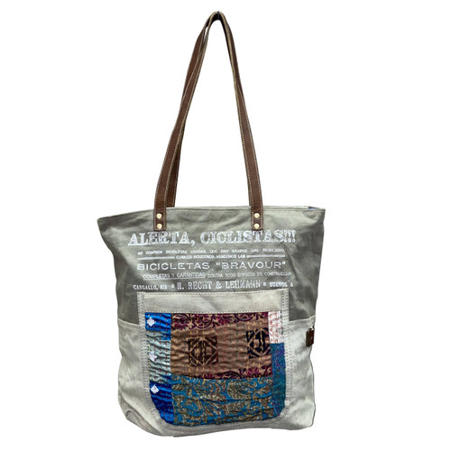 Washed Canvas with Recycled Sarges Tote