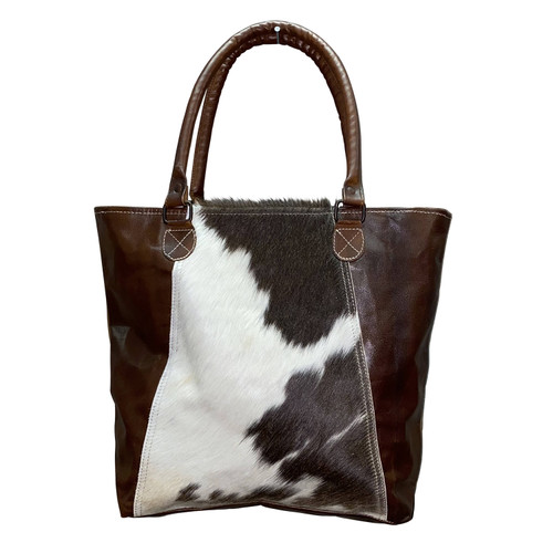 Leather Sides Canvas Hide Tote
