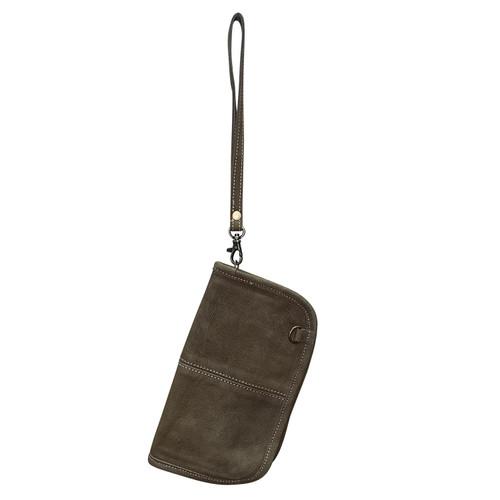 Leather Crossbody Wrist Wallet Chocolate