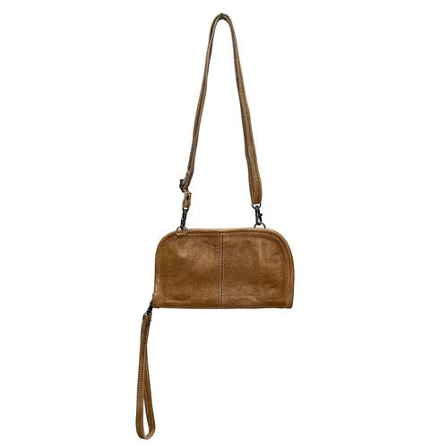 Leather Crossbody Wrist Wallet Caramel