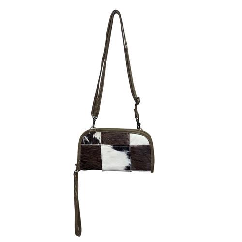Patchwork Leather Crossbody  Wrist Wallet