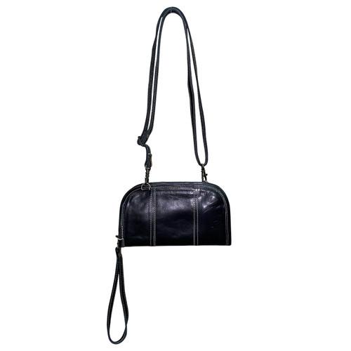 Leather Crossbody Wrist Wallter Black