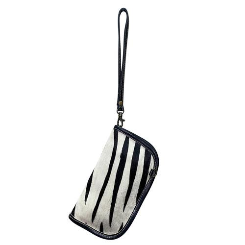 Leather Crossbody Wrist Wallet Black White Stripes