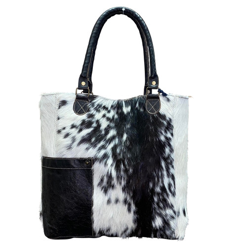 Black White Wide Leather Hide Bag