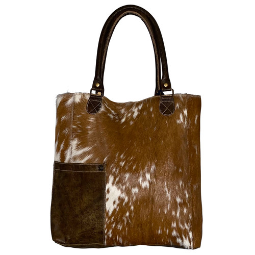 Chocolate White Wide Leather Hide Bag