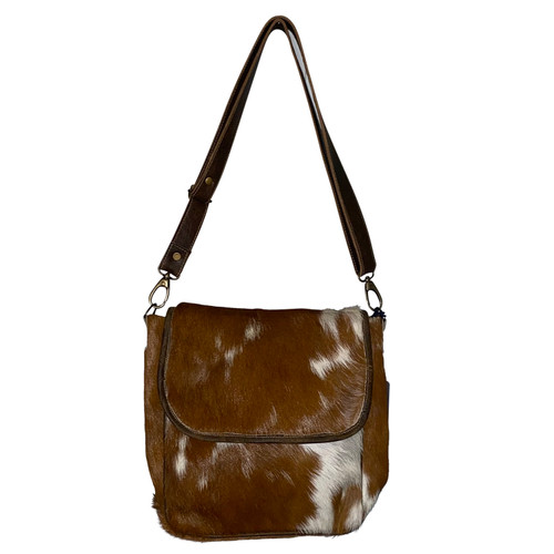 Foldover Crossbody Brown White Leather Hide