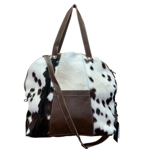 Round Leather Hide Crossbody Tote