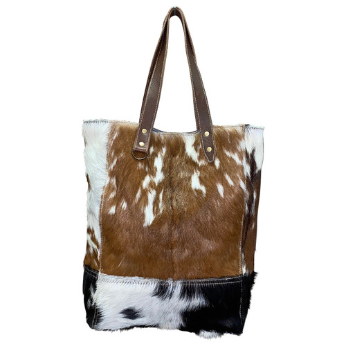 Tall Leather Hide Tote Brown Front