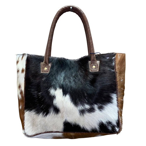 Wide Short Leather Hide Tote