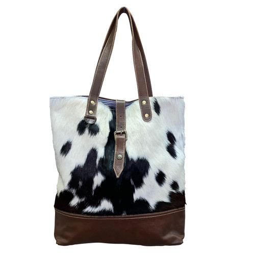 Large Leather Bottom Hide Tote