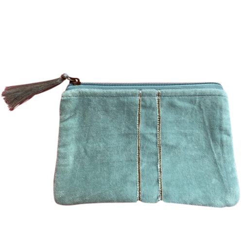 Velvet Pouch Turquoise with Silver Stripes