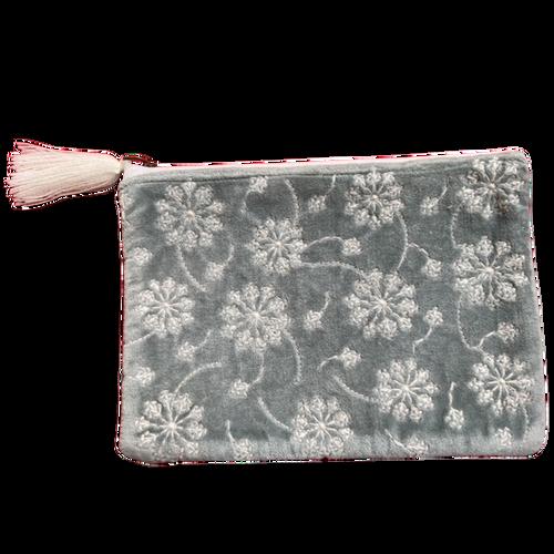 Velvet Pouch White Flowers on Grey