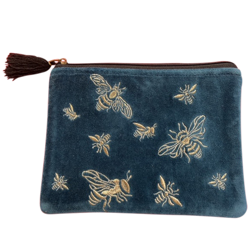 Velvet Pouch Rich Blue with Bees