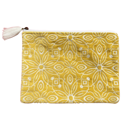 Velvet Pouch Yellow Floral
