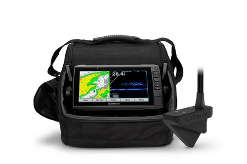 A PREMIUM FISHING EXPERIENCE Drill fewer holes and catch more fish with the Panoptix LiveScope™ ice fishing bundle, which includes an ECHOMAP™ UHD 93sv combo and Panoptix LiveScope sonar transducer.   Hit your limit with the power of Panoptix Livescope, which offers two modes of sonar in one transducer.   If it's out there, you'll know it — with real-time sonar that lets you see up to 200' in any direction.   Only drill where there's fish when you use LiveScope™ Forward sonar.   Keep an eye on your jig and what it attracts with LiveScope™ Down sonar.   It's all in the details. And with LakeVü g3 maps, you'll get them all on 18,000 lakes.   Everything goes where you go. All accessories fit in the rugged, portable carrying case.   Get ready to reel in your line.  ECHOMAP™ UHD Revolutionary real-time sonar pairs with a large ECHOMAP UHD 93sv combo touchscreen display, allowing you to see up to 200' in any direction.   TWO MODES, ONE TRANSDUCER Adapt your fishing technique with a Panoptix LiveScope system, which offers two scanning sonar modes. The bundle also includes a battery, charger and swivel pole mount.   LIVESCOPE FORWARD LiveScope Forward sonar shows up to 200' all around you and below the ice, so you can locate schools of fish and know where to drill the next hole.   LIVESCOPE DOWN LiveScope Down sonar shows moving sonar images of what is below the ice, so you can watch fish respond to your jig.   LAKEVÜ G3 MAPS The unit comes preloaded with LakeVü g3 maps with integrated Navionics® data, covering more than 18,000 lakes in the U.S.   BUILT-IN FLASHER The built-in flasher provides accurate jig and fish detection as they swim into the sonar beam.   CUSTOM COMBOS You can create custom pages that combine Panoptix™ sonar, flasher and map on your display.   CARRYING CASE Where you take your bundle is up to you. But the rugged, portable carrying case lets you easily transport it from hole to hole and season to season.