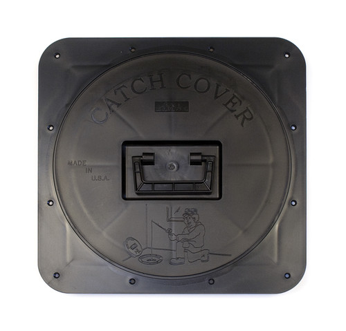 """Square Hole Cover by Catch Cover   Square framed Catch Covers are most often used to retrofit fish houses with homemade hole covers already in the floor. 12"""" hole opening. The rough floor cut-out is 12-3/4"""" x 12-3/4"""". The flange is 1-7/8"""" tall. The top dimension is 16"""" x 16"""".  Like the Original Round Catch Covers, the Square Catch Covers are injection molded from the proper blend of cold weather materials making them practically indestructible on the ice. The lid snaps into place and won't pop out over the roughest roads, keeping snow and road salt out of your house and all your gear inside the house!  Secure Catch Cover rings to the floor using#10 3/4"""" stainless steel screws. Do not to over-tighten the screws.     SKU:CC02 Weight:4.00 LBS"""