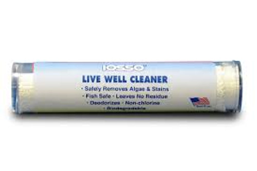 Live Well Cleaner - Fish Safe! USD $5.95Safely Deodorizes and Removes Stains. Fish Safe!! For live wells, bait buckets, fish boxes, ice chests, coolers, thermos jugs, refrigerators & freezers. It cleans algae, mold & mildew, slime, bloodstains and odors. Once rinsed out it does not leave a residue. Just mix this biodegradable powder with water, circulate the pump, or sponge on affected areas. Pump out, and then rinse with clean water. Leaves no residue or odor behind. 4 oz.Live Well Cleaner - Fish Safe! USD $5.95Safely Deodorizes and Removes Stains. Fish Safe!! For live wells, bait buckets, fish boxes, ice chests, coolers, thermos jugs, refrigerators & freezers. It cleans algae, mold & mildew, slime, bloodstains and odors. Once rinsed out it does not leave a residue. Just mix this biodegradable powder with water, circulate the pump, or sponge on affected areas. Pump out, and then rinse with clean water. Leaves no residue or odor behind. 4 oz.