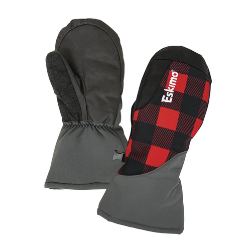 FEATURES ▼DURADRY™ 210 DENIER POLYESTER FABRIC Tough and durable with DWR (Durable Water Repellent). ◄250GM 3M THINSULATE™ PLATINUM INSULATION High-loft, water-resistant, and super warm. ◄DWR TREATED REINFORCEMENTS DWR treated goat skin palm, finger, and side reinforcements are strategically placed with ice fishing tasks in mind. ◄5K/5K WATERPROOF/BREATHABLE RATING Waterproof/breathable glove insert to keep hands dry.