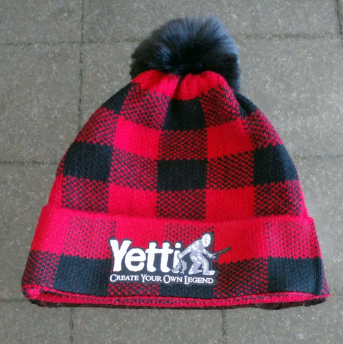 Yetti Plaid Pom Beanie  One Size Fits All