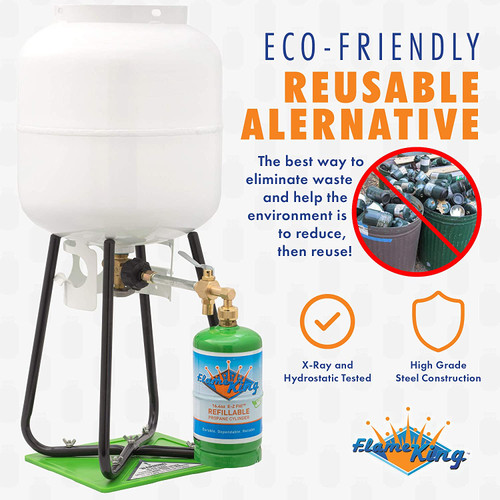 Flame King Refillable 1 lb Empty Propane Cylinder Tank - with Refill Kit and CGA600 Connection - Reusable - Safe and Legal Refill Option - DOT Compliant - 16.4 oz, Green •SAVE MONEY - Stop wasting money on disposable tanks and start saving money with our reusable, safely and easily refillable propane cylinders •SAVE TIME - Refill from the comfort of your backyard in just FOUR easy steps! Compatible with any appliance that uses a 1 Lb propane tank! •REDUCE WASTE - Keep disposable propane tanks out of the environment by using Flame King 1 Lb refillable cylinders •SAFE TO USE - Flame King refillable propane tanks are the only 1lb tanks Certified by the DOT as legally and lawfully refillable and transportable. It is not safe or legal to refill and transport disposable 1lb tanks •FAST REFILL KIT - These cylinders fill fastest & safest with our commercial Flame King refill kit! Includes 1 lb cylinder, cylinder cap, refill adapter device and refill stand!