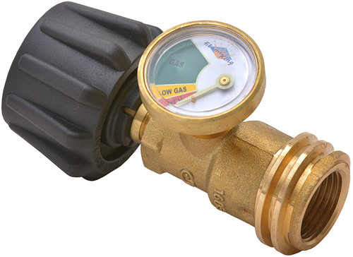 Flame King Propane Tank Gauge Level Indicator Leak Detector Gas Pressure Meter Color Coded & Glow in the Dark Universal for Cylinder, BBQ Gas Grill, RV Camper, Heater and More Appliances, Propane Gas Tank Level Indicator Check Guage Propane Tank Level indicator with low and refill calibrations Built in leak detector to restrict flow in case of hose or grille malfunction Easy screw on with large thread grip, Fits all tanks, INCLUDES Travel Cap per DOT regulations Measures approximately 8-4/5 by 5-3/5 by 4-1/2 Inch; 1-year limited UL Approved, ANSI Z21. 18, CSA 6. 25 Approved
