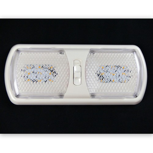 "These are warm white ceiling ""pancake"" lights found as standard in many makes and models of RVs and fishhouses.  Integrated switches make it easy to zone control your lighting.  Single pancakes are switched on/off.  Double pancakes are switched 1/2 on, full on, off.  Reliable and low drawing, we suggest these lights on any new build, remodel or retrofit."