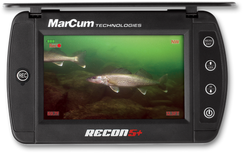 """MARCUM RECON 5 PLUS UNDERWATER VIEWING SYSTEM    $369.99  The RECON5+ viewing system comes complete with everything needed to enjoy the world of underwater viewing. It features a 5"""" Screen with a multi-purpose sun shield/screen protector. The camera features both visible LED lights as well as a stealthy infrared option for viewing in low light situations. A built in DVR allows for video recording as well as capturing photos of the action. Incorporated into the camera system are on screen displays of depth, temperature, and camera direction. A removable weight and camera-positioning clip come standard with the system. The system is powered by an internal rechargeable Lithium Ion battery that provides up to 6 hours of continuous run-time. Included with your system are a charger and cable, protective soft-pack, and camera storage sack. The RECON5+ features a ¼""""- 20 insert as well as additional inserts that allow for limitless mounting options (Mounts not included).  CAMERA FEATURES & SPECIFICATIONS MODEL NO.RC5P DISPLAY5″ Widescreen Flat Panel Hi-Res Color LCD Resolution800 x 480 Pixels CameraCMOS Sensor Dark Water LED & Infrared Lighting 110° Field of View Color Kill Cable50 ft. Camera Cable On Screen DisplayBattery Status Depth of Camera Water Temperature Camera Direction On-Screen information can be displayed in Metric Units Additional FeaturesBuilt-in DVR Record to External Micro SD Card (up to 32GB) Playback, Delete, and screen shot options available Adjustable Brightness, Contrast, and Sharpness Switchable Color & B/W RCA Video Out Built-in Sunshield & Screen Protector Removable Camera & Cable Storage Up To 6 Hours Continuous Runtime"""