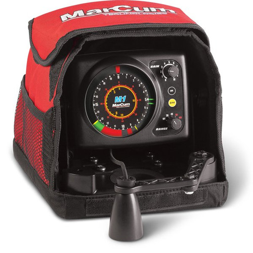 "MARCUM M1 FLASHER SYSTEM  MSRP: $299.99  The most advanced flasher-sonars ever built, the MarCum® ""M"" Series offers brushless, dead-quiet operation with dazzling bright and crisp color definition of bottom, fish, baitfish and your lure, all illuminated on the highest resolution display available in a commercial-grade flasher. With advanced features like split-screen zoom, patented interference rejection and 1000 watts of expertly managed output power you'll always know if you're angling for a school of baitfish or the ""catch of the day"".  Although the M1 is Marcum's entry-level flasher, it exhibits features normally reserved for top-of-the-line sonar systems. Features like bottom zoom, a split screen zoom with bottom lock that reveals walleyes and other species from more traditional sonar's grasp. So many of the same characteristics that make any Marcum flasher a best-in-class leader, are also found in the M1. Patented Max Brightness and Clarity (MBC) targets are crisply shown on a quiet, brushless lighting display. 1,000 watts of balanced power is translated into 2-inch target separation that sets itself apart, especially among other entry-level flashers on the market. Anglers get the same patented interference rejection system available on all Marcum flashers, making the M1 just as usable with other MarCums as it is with all other sonar. The M1 also features an ultra-wide 20-degree transducer cone angle, allowing discovery of disinterested fish far from the edge of the hole that can be enticed into action. Like all MarCums, the M1 is protected by the best soft pack in the business, offering protection while out fishing and getting there. Add to M1 the same 2-year system warranty that is offered in big brothers M3 and M5, and you've got a lasting choice in both value AND performance. Don't settle for less sonar for less money. Instead, get the features you need at a price you want.     SONAR FEATURES & SPECIFICATIONS MODEL NO.	M1 DISPLAY	TrueColor patented MBC Brushless Lighting POWER	1000 Watt Peak to Peak Output Power CONE ANGLE	20 Degree Ice Transducer TARGET SEPARATION	Down to 2-Inch INTERFERENCE REJECTION	Patented 12-Step Interference Rejection ZOOM	Split Screen 5′ Bottom Lock CABLE	8 ft. Transducer Cable ADDITIONAL FEATURES	Selectable Depth Ranges – 20′, 40′, 80′, 160′"
