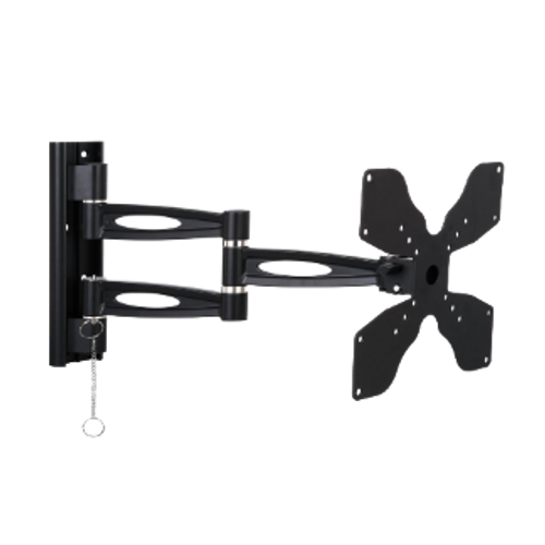 "Perfect for Trucks and RVs, The Master Mount Locking Portable Cantilever Mount articulates with a dual-hinge arm that extends away from the wall.  It has a spring loaded locking pin to secure your LCD, LED Screen or monitor in place when your vehicle is in motion.  Simply pull the pin to unlock and swivel into place for perfect viewing.  It will swivel 180 degrees from side to side and will tilt 10 degrees up and 12 degrees down. With locking mounts for LCD, LED and Plasma TVs with screen sizes 15-33"" and weights up to 25 lbs we are certain you will be happy with a Master Mount TV wall mount.  Easy to install,  locks in securely when you are driving. All hardware is included. **Featured in Family Motor Coaching Magazine, Overdrive Online, Trucker News, American's RV Mall, and RV News!  SPECIFICATIONS:  403L SPECIFICATIONS: VESA Compatible Mounting Pattern: 50x50mm, 75x75mm and 100 x 100mm Mount Type: Locking, Portable, Articulating, Cantilever, Swivel, Tilt, Full Motion Brand: Master Mount  Screen Size: 15"" - 30"" Weight Capacity: up to 25 lbs  Viewing Adjustments: 180 degrees left to right 7 degrees up and 15 degrees down Arm extends 16.5"" away from wall Extra Bracket 403LBM Sold Separately  Material: Cast Aluminum and Steel Color: BLACK Assembled Dimensions: H 8.5"" x W2.5"" x D 3.25"", 16.5"" when extended Weight: 3 lbs     404L VESA Compatible Mounting Pattern: 50x50mm, 75x75mm and 100 x 100mm, 100 x 200mm, 200 x 200mm Mount Type: Locking, Portable, Articulating, Cantilever, Swivel, Tilt, Full Motion Brand: Master Mount  Screen Size: 15"" - 42+"" Weight Capacity: up to 25 lbs  Viewing Adjustments: 180 degrees left to right 10 degrees up and 12 degrees down Arm extends 25"" away from wall   Material: Cast Aluminum and Steel Color: Black Assembled Dimensions: H 8.5"" x W2.5"" x D 3.25"", 25"" when extended Weight: 4 lbs     408L   SPECIFICATIONS: VESA Compatible Mounting Pattern: 50x50mm, 75x75mm and 100 x 100mm, 100 x 200mm, 200 x 200mm Mount Type: Locking, Portable, Articulating, Cantilever, Swivel, Tilt, Full Motion Brand: Master Mount  Screen Size: 15"" - 42+"" Weight Capacity: up to 25 lbs  Viewing Adjustments: 180 degrees left to right 10 degrees up and 12 degrees down Arm extends 25"" away from wall   Material: Cast Aluminum and Steel Color: Black Assembled Dimensions: H 8.5"" x W2.5"" x D 3.25"", 25"" when extended Weight: 4 lbs"