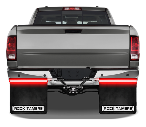 "DESCRIPTION Need extra visibility when you tow? You got it with the new Rock Tamers RT240 Light Bars! Super bright running, turn and stop lights help keep you seen whenever your lights are on. Works in conjunction with your existing lights.  An add-on mudflap accessory that gives your towing vehicle an additional set of tail, stop and turn signal lights The perfect solution for consumers who want to make sure their vehicle is seen while towing Rock Tamers Tail Light Bars give you 2 strips of brilliant LED light Each bar measures 24 inches by 1 inch wide and have 24 LEDs Simple design works with existing Rock Tamers Mudflaps hardware and can be used on other mudflap systems as well (see back of package for specific details) Extruded ""C"" channel aluminum housing slides over the heads of the flap clamp bolts and tightly secures in place Easy to connect 4 wire flat trailer connector plugs into standard trailer connections The specially designed plug is angled so both the 4 wire flat and 7 blade can be plugged in and used at the same time The light bar wiring harness has 2 coiled leads each with water-tight end plugs for secure and trouble free connections Use the included cable ties to keep the harness neatly mounted Comes complete with black powder coated left and right tail light bars, coiled wiring harness with 4 wire flat connectors and 12 stainless cable ties (4.6mm x 150mm) Complete installation instruction and pictures included Downloads: ROCK TAMERS RT240 LED LIGHT BAR INSTRUCTIONS"